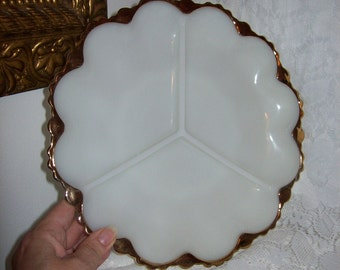99 CENT SAlE Vintage Milk Glass Divided Relish Tray w/ Gold Trim by Anchor Hocking Now .99 USD