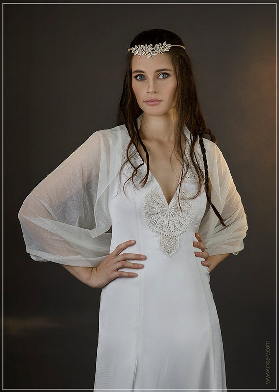 Bridal shrug sparkling wedding cover up loop shawl with 4 for Cover up wedding dress