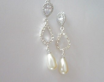 Bridal jewelry - Pearl drop earrings - Sterling silver posts - Rhinestone teardrops - Long - Brides earrings - Wedding Jewelry -