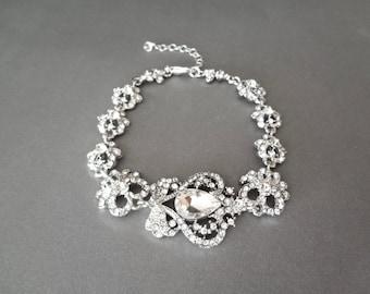 Crystal rhinestone statement bracelet ~ Teardrop ~ Brides bracelet ~ Wedding bracelet ~ Prom ~ Pageant - Sparkling Fabulousness ~ SARAH