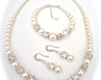 Bridal Jewelry - Pearl jewelry set - 3 piece ~ Swarovski pearls and crystals  ~ Brides Jewelry set ~ BEST SELLER ~ DESTINY