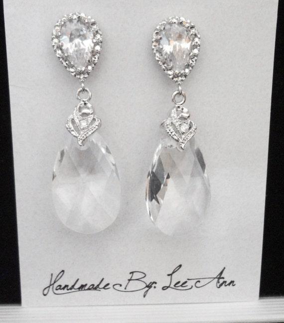 Swarovski crystal earrings ~  Brides earrings ~ Sterling silver posts ~ Elegant, Wedding earrings, Bridal Jewelry, Bridesmaids,Prom, Gift