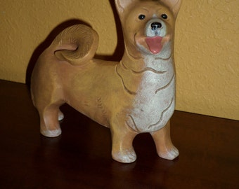 Corgy Dog Brown/White/Vintage/Statue/Dog Statue