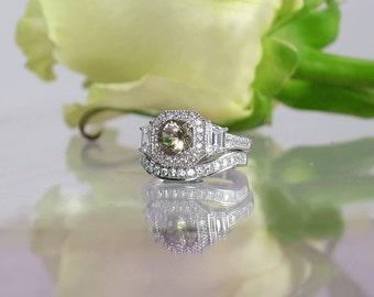 Unique Gemstone wedding set, Unique Silver Wedding Set, Herkimer Diamond Wedding Set, Sterling Silver, Smokey Herkimer Diamond