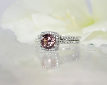 Zircon, Zircon Ring, Halo Ring, Colored Stone Wedding Set, Natural Gemstone Ring, Pink Wedding Set, Pink Engagement Ring, Halo Wedding Set