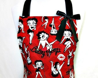 Apron BETTY BOOP Sealed With a Kiss, Retro Comic Strip Pop Art, SEXY Ruffled Flounce, Pretty Party Hostess, Fun Gift