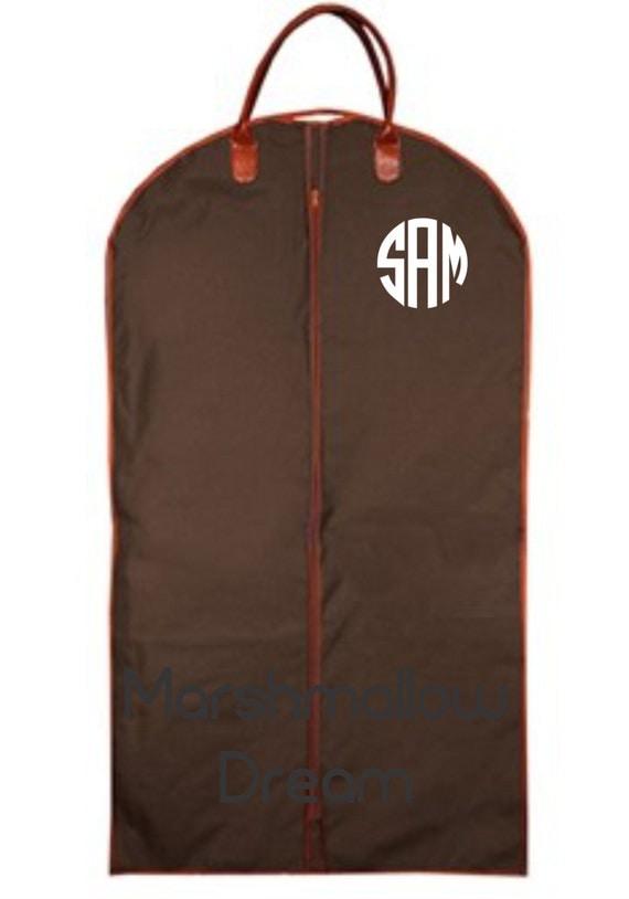 monogrammed mens mocha brown garment bag    mens suit bag