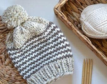Slouchy Chunky Knit Beanie // Chunky Knit Beanie With Pom Pom // Womens Beanie With Pom Pom // Hand Knitted Beanie // Slouchy Winter Hat
