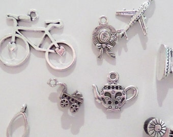 10CT Silver Toned Variety Package of Charms, Y31A