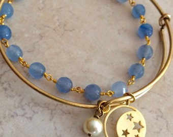 Moon and Stars Bangle Bracelet and Blue Jade Bracelet Combination, Together or Separate, Jewelry Gift for Her, Limonbijoux