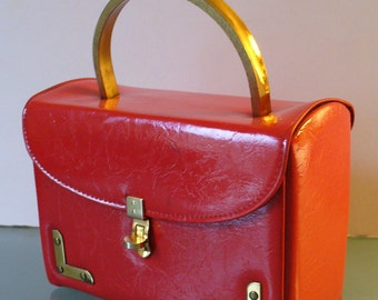 Vintage Box Style Red Patent Leather Purse