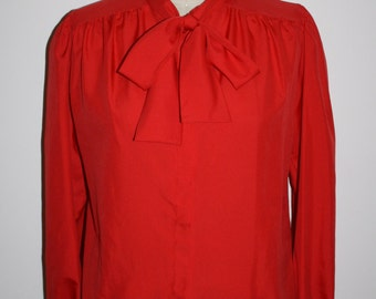 70s 80s Stranger Red Blouse Bow Neck Blouse Barb Top Shirt, Holiday Christmas Secretary Things, Size M Medium to L Large 12