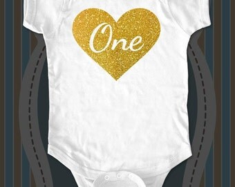 Custom First Birthday Heart Age One design2g Gold glitter - baby One-piece bodysuit, Infant Tee, Toddler, Youth Shirt