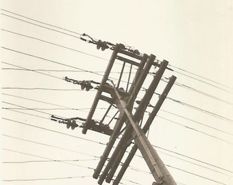 "Vintage Snapshot ""More Power To You"" Electricity Power Lines Poles Transformers Found Vernacular Photo"