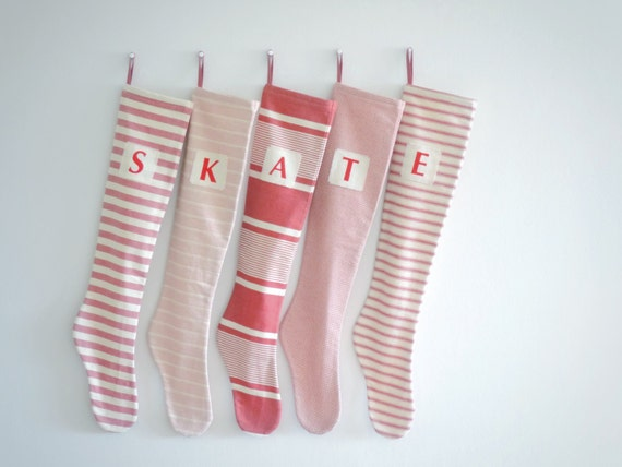 Christmas Stocking Personalized Christmas Stocking, Personalized Stocking, Striped Stocking, Striped Red Cream, Long, Nordic Collection