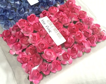 96 Mini PINK Paper Roses - Ready for crafting