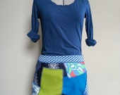 Green and blue vintage polyester patch mini skirt