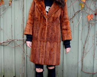 vintage Kolinsky Coat Auburn Red genuine fur 1960s luxurious soft mid length coat