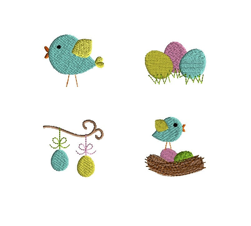 Mini spring easter machine embroidery designs instant download