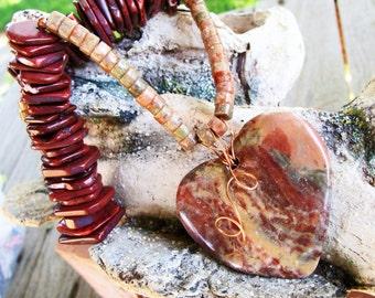 Jasper and Agate Necklace with Jasper Heart Pendant and Agate Slices  #jaspernecklace #agatenecklace #gemstones #giftsforher #naturaljewelry