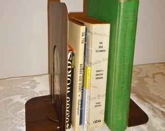 Vintage Bookends Metal Book Ends Faux Wood Bookends