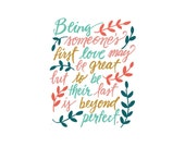 Being Someone's First Love... - 8x10 hand drawn and hand lettered bright color print on white background