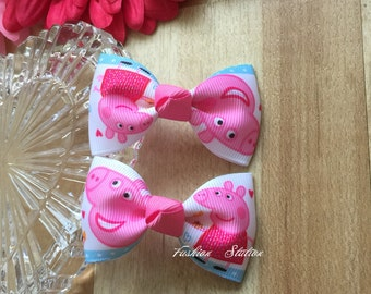 "Set of 2 Bows ~~ Peppa Pig Bows~~2.5 "" Hair Bow~~Small Bows~~ Girls Hair Accessory~~Simple Hairbow ~ Kids Barrette ~~"