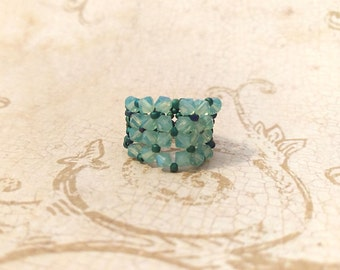 The Peggy- Pacific Opal Swarovski Crystal and Lacey Green Mirage Seed Bead Stretchy Fashion Right Angle Weave Ring