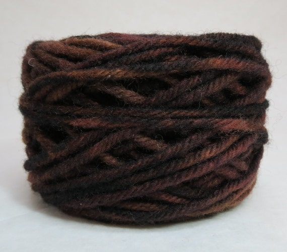 DARK CHOCOLATE, 100% Wool, 2 Ozs. 43 yards, 4-Ply, Bulky or 3 ply Worsted weight yarn, already wound into cakes, ready to use,made to order