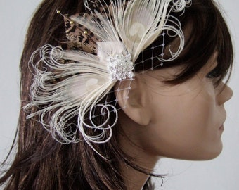"Cream Brown Nudes Peacock Pheasant Feathers Fascinator Hair Clip ""Lia"" Bridal Wedding - 2 Day to Make - Bridesmaids Rustic Woodland Wedding"