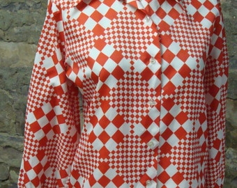 RED CHECKED BLOUSE butterfly collar 1970's button-down S M