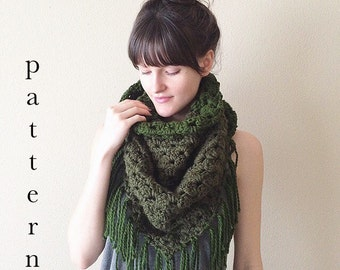 Crochet Pattern for Triangle Fringe Shawl Scarf | Easy Beginner Crochet Pattern | Instant PDF Digital Download