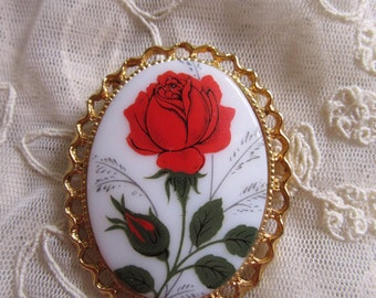 1970s Glass Pin Red Rose Transfer Cameo Style Brooch Vintage Costume Jewelry American Beauty Gardener Flowers Garden MoonlightMartini