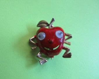 Anthropomorphic Pin Red Apple Brooch Google Eyes Googly Figural Vintage Costume Jewelry Teacher Gift Fruit MoonlightMartini