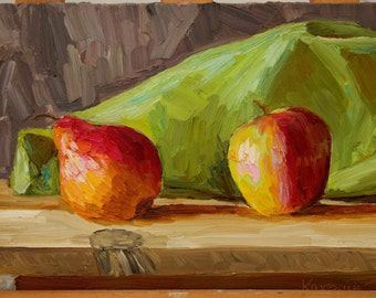 Original Oil Painting Pear&Apple by Anastasia Kaufman