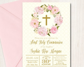 Floral First Communion Invitation Baptism Invite, printable, DIY, Confirmation, Christening, Pink