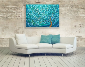 Teal & Turquoise Abstract Tree Painting - Winter Morning Tree - Abstract Tree Painting by Louise Mead