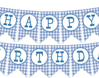 INSTANT DOWNLOAD  Little Blue Truck Happy Birthday Banner--DIY Printable;  Blue Gingham