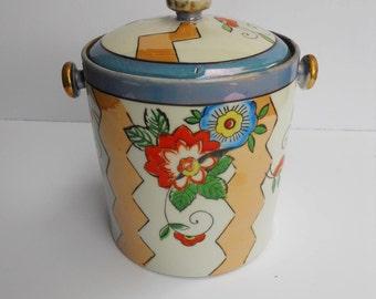 Vintage Retro 1960s 60s Ceramic Porcelain Art Pottery Luster Glaze Ice Bucket, Made in Japan
