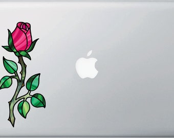 """CLR:MB - Rose - Rosebud on Stem Stained Glass Style Vinyl Decal for Macbook 