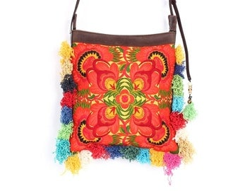 Boho Cross Body Bag With Adjustable Leather Strap Embroidered Fabric (BG837BH-OF2)