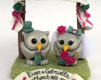 Chuppah wedding cake topper, owls love birds bride and groom, customizable, with banner
