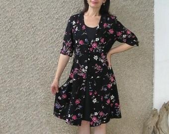 Vintage black inset floral dress, size M