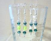 Silver Filigree Green Crystal Pierced Earrings, Handmade Original Design St. Patrick's Day Fashion Jewelry, Elegant Petite Feminine  Spring