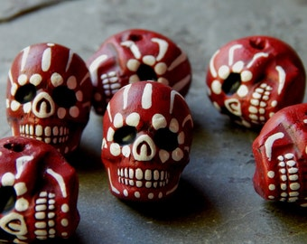 "22X17mm Dark Red ""Day of the Dead"" Ceramic Handcrafted Skull Pendant - Bead, 1 PIECE (N7-Indoc599)"
