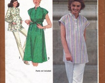 1980s Pullover Maternity Top or Dress Pattern, Maternity Tunic Top Pattern, Maternity Dress Pattern with Tie Belt, DIY Maternity Clothes