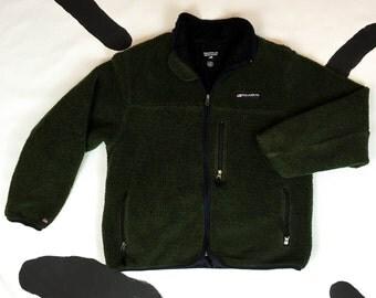 90s Polo Jeans Co Ralph Lauren Green Chunky Fleece Logo Jacket / XL / Large / Olive Green / Sporty / 90s Hip Hop /
