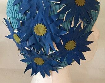 Vintage 1950s 60s Women's Turquoise Blue Green Flowers Swim Cap
