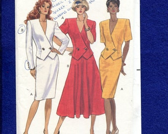 Vintage 1989 Butterick 4106 Shaped Front & Hemline Double Breasted Jackets and Pencil or Flared Skirts  Sizes 6..8..10