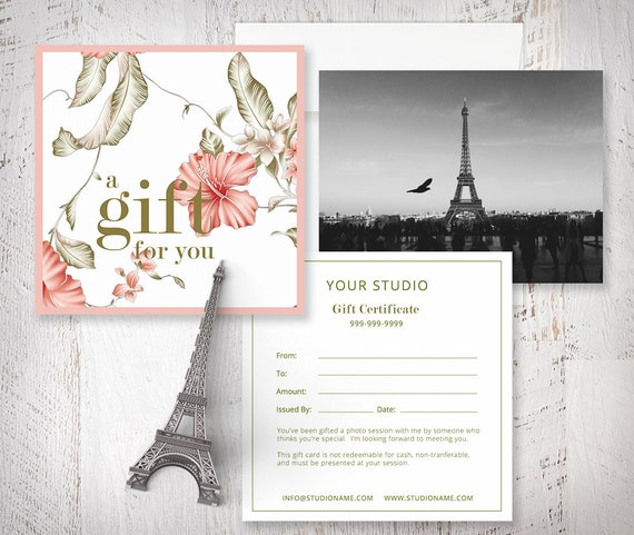 Items similar to gift certificate photoshop template for photographers marketing gift card for Gift certificate template photoshop